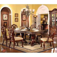 Tuscan style – Mediterranean Home Decor Dinning Room Table Decor, Dining Room Walls, Dining Room Sets, Dining Room Design, Dining Room Furniture, Room Decor, Art Decor, Living Room, Double Pedestal Dining Table