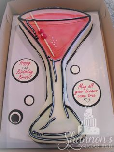 Buttercream frosted Martini sheet cake in hot pink, black, and white. Vanilla cake with vanilla buttercream. Keywords: birthday, vodka.