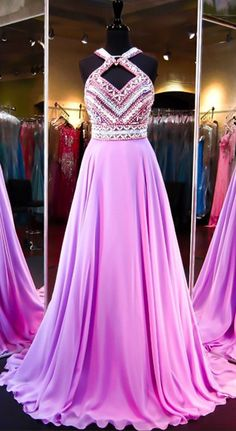 Pretty Fashion Prom Dresses,Backless Evening Party Gown,Chiffon Beading