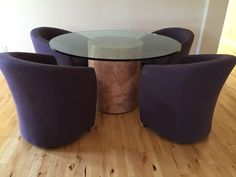 Designer Table And Four Purple Chairs With Pounded And Formed Mulberry Bark Pedestal By San Francisco Furniture Designer