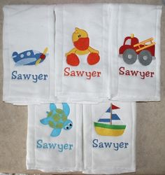 5 Personalized embroidered burp cloths, choose from any of my designs