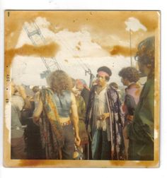 Jimi Hendrix, Woodstock, backstage. -Jimi with cape-never seen before-someones polaroid
