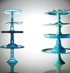 Once known as Sapphire pale blue pressed glass was popular from 1870 to 1910 and in the 1950's. The colbalt blue left, third from top was rare.
