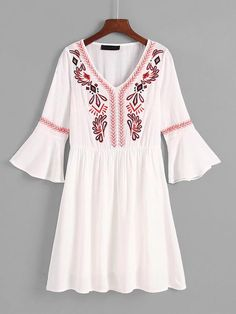 To find out about the Flounce Sleeve Embroidered Dress at SHEIN, part of our latest Dresses ready to shop online today! Floral Embroidery Dress, Embroidery Suits, Embroidery Fashion, New Kurti Designs, Kurti Designs Party Wear, Blouse Designs, Stylish Dresses For Girls, Little Girl Dresses, Nice Dresses