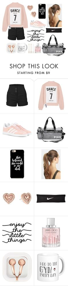 """""""Dance Your Heart Out"""" by fashionologysz ❤ liked on Polyvore featuring LE3NO, Studio Concrete, adidas Originals, France Luxe, Michael Kors, NIKE, Jimmy Choo and claire's"""