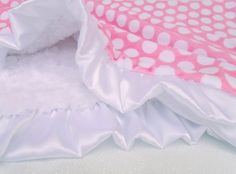 Personalized White and Pink Polka Dot Minky Baby Blanket - Adult BlanketMinkyBabyGifts Paris Pink Mod Dot Minky Baby Blanket