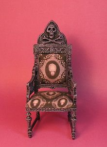 DollHouse Miniature 1:12~OOAK Haunted SPOOKY Hand Sculpted Skeleton Chair IGMA