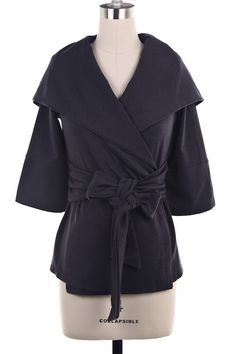 CHARCOAL BOW TIE CARDIGAN $40