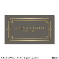 Professional Vintage Art Deco Elegant Gold, Taupe Double-Sided Standard Business Cards (Pack Of 100)