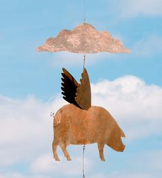 Metal Flying Pigs Hanging Mobile | New for Summer