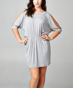 This Heather Gray Ruched Cutout Dress - Plus by Tua Plus is perfect! #zulilyfinds