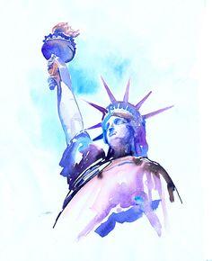 New York, standbeeld van Liberty Print van het originele schilderij, New York illustratie afdrukken, stad Print, New York aquarellen
