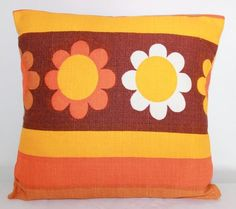 vintage 60's Daisy Mary Quant style fabric cushion cover