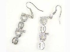 Bebe Earrings Silver Tone Crystal