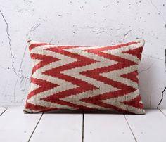 Red Velvet Ikat Pillow
