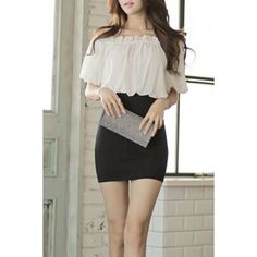 Stylish Off The Shoulder Short Sleeves Bodycon Dress For Women