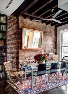 Brooklyn loft. exposed brick. home decor and interior decorating ideas. living room. dining room.