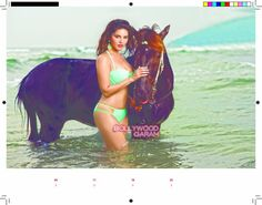 Sunny Leone poses in a sea green bikini in knee deep water for the photoshoot for the Manforce calendar