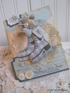 shabby chic WINTER SKATES. Love the glittered doily! :*)
