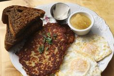 The latkes breakfast plate, served with eggs over easy, toast, applesauce and sour cream at Dacha Diner on Capitol Hill in Seattle. (Ken Lambert / The Seattle Times) Potato Latkes, Potato Pancakes, A Food, Good Food, Matzo Meal, Food Experiments, Breakfast Plate, Holiday Dinner, Other Recipes
