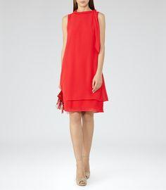 Womens Cherry Red Tie-neck Dress - Reiss Aries