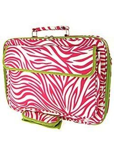 "Green Trim Hot Pink Zebra Print 17"" Padded Laptop Computer Cover Case: Price: 	$38.99"