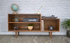 Custom Record Player / Media cabinet in Cherry - Teak Stain - Mid Century Modern Inspired