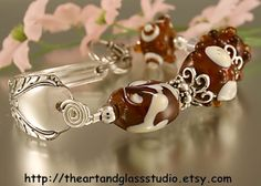 Silver Spoon Bracelet AVALON w/ Amber by theartandglassstudio, $46.00
