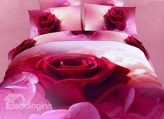 Luxury One Big Red Rose Print 4-Piece 3D Duvet Cover Sets #3dbeddingsets #floralbedding #homedecor Live a better life start with @bedding inn