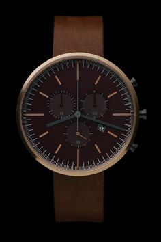 300 Series by Uniform Wares - rose gold case/walnut brown strap Simple Watches, Watches For Men, Unique Watches, Stylish Watches, Women's Watches, Wrist Watches, Jewelry Watches, Uniform Wares Watch, Dezeen Watch Store