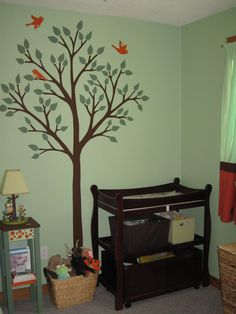 My Daughter's Forest Nursery - HOME SWEET HOME - My hubby and I welcomed our first baby girl about two-and-a-half months ago. I spent hours and hours working on her nursery before she arrived. Church Nursery, Nursery Room, Boy Room, Kids Room, Yellow Nursery, Baby Nursery Neutral, Forest Nursery, Woodland Nursery, Tree Stencil For Wall