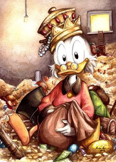 Watercolor tribute to Scrooge McDuck by eikomakimachi Not sure what made me want to draw Uncle Scrooge, if it was a need to bring back childhood memories (my whole family loves Carl Bark's and Don. Disney Pop Art, Disney Duck, Arte Disney, Disney Love, Disney Magic, Disney Pixar, Cartoon Drawings, Cartoon Art, Arte Banksy