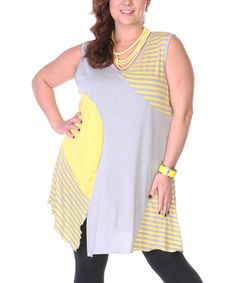 Love this Yellow & Gray Patchwork Sleeveless Tunic - Plus on #zulily! #zulilyfinds