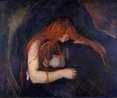 "Edvard Munch ""Vampire"". - ""The Frieze of Life"" themes recur throughout Munch's work but he especially focused on them in the mid-1890s. In sketches, paintings, pastels and prints, he tapped the depths of his feelings to examine his major motifs: the stages of life, the femme fatale, the hopelessness of love, anxiety, infidelity, jealousy, sexual humiliation, and separation in life and death.[52] These themes are expressed in paintings such as The Sick Child (1885), Love and Pain (retitled…"