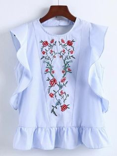 Shop Ruffle Hem V Back Embroidery Top online. SheIn offers Ruffle Hem V Back Embroidery Top & more to fit your fashionable needs.