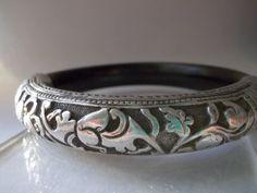 Antique 19th Century Chinese Ornately Hand Chased Sterling Silver & Ebony Style Wood Bangle Bracelet
