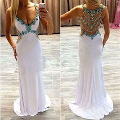 White dresses,slim hand-beaded long prom eress,sexy V-neck evening dress