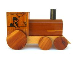 Vintage Wooden Toy Train Carlsbad Caverns by OurModernHistory