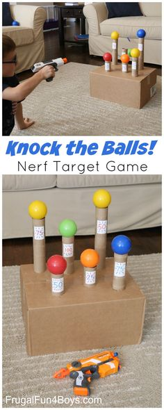 """""""Knock the Balls!"""" DIY Kids Nerf Target Game Tutorial via Frugal Fun 4 Boys – Kn… """"Knock the Balls!"""" DIY Kids Nerf Target Game Tutorial via Frugal Fun 4 Boys – Knock the Balls Down Nerf Target Game – Super boredom buster, and a fun party idea too! Games For Boys, Indoor Activities For Kids, Fun Activities, Children Games, Party Games For Kids, Family Games Indoor, Toddler Games, Outdoor Activities, Fun Kids Games Indoors"""
