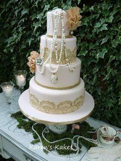 Amazing Vintage Wedding Cake Tess by Karens's Kakes