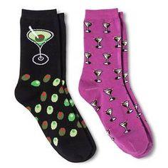 Davco Women's 2-Pack Fun Socks Olives/Martini - Black One Size : Target