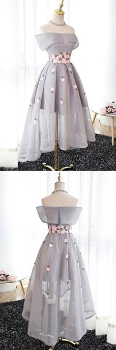 Off-the-Shoulder High Low Grey Tulle Homecoming Dress With Appliques
