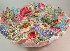 Vintage Fabric Bowl £30.00. Beautiful bowl made from cut out pieces of vintage flowery fabric, free embroidered onto dissolving fabric.