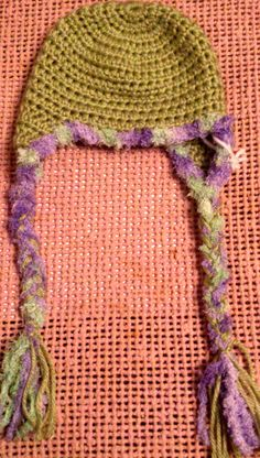 Baby Green and Purple Earflap Hat crochet Newborn Winter Spring Fall Hand Made Beanie Baby Accessories Shower gift Baby Basket Filler by…