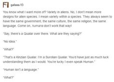 """It's like instead of English aliens choose to speak idk Finnish or whatever and stupid American reporters go """"Oh jeez look at this alien language!"""" And Finnish people are like """"Oh for fucks sake. Dialogue Prompts, Story Prompts, Writing Prompts, Writing Help, Writing A Book, Writing Tips, Aliens, Space Australia, Writing Inspiration"""