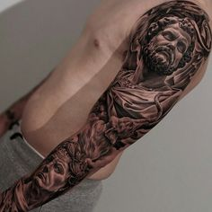 Amazing artist Jun Cha Italian Roman tattoo sleeve.