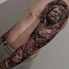 Amazing artist Jun Cha  Italian Roman tattoo sleeve.