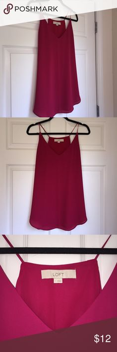 LOFT Magenta Tank NEVER WORN Gorgeous LOFT summer tank in Magenta. Perfect condition! Tags were removed but I never wore the top. Gorgeous color and ideal for the summer! LOFT Tops Tank Tops