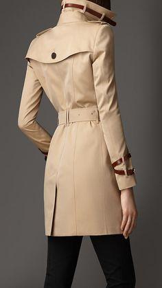 Mid-Length Leather Detail Gabardine Trench Coat | Burberry