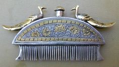 Rare Antique Early 19th century Indian silver parcel gilt oil comb, Stunning!